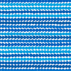 "Rasymatto Blue fabric by Marimekko - This beaded blue and white pattern is a wonderful way to go a bit coastal with your design without doing that whole ""shell-a-palooza"" thing all over the place."