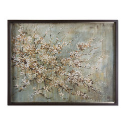 Uttermost - Blossom Melody - This oil reproduction features a hand applied brushstroke finish. The frame has a medium taupe undertone with heavy dark brown and black glaze. Antique silver leaf inner lip with brown wash.