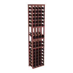 Wine Racks America - 4 Column Display Row Wine Cellar Kit in Pine, Cherry Stain + Satin Finish - Make your best vintage the focal point of your wine cellar. Four of your best bottles are presented at 30° angles on a high-reveal display. Our wine cellar kits are constructed to industry-leading standards. Youll be satisfied with the quality. We guarantee it.