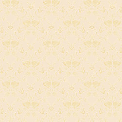 Color Ogee Wallpaper, Oklahoma Wheat, Swatch - • Vinyl Covered Paper