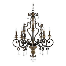 Quoizel Lighting - Quoizel MQ5009HL Marquette 9 Light Chandelier, Heirloom - With a subtle smattering of multifaceted crystal drops, this refined design is worthy of a French parlor, and nearly as romantic as Paris itself. The beautiful Heirloom finish is a rich bronze with antique silver highlights.