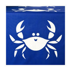 Wabisabi Green - Happy Crab Eco Table Runner, Shell White/Sapphire Blue - This casually elegant table runner hand-printed with happy crabs brings a fun, coastal flair to the dining room. The vivid royal blue fabric and white ink are both ecofriendly, giving you and the crabs reason to smile.