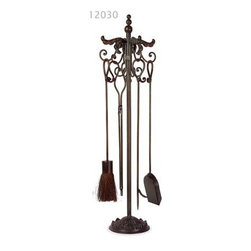 Wrought Iron Fireplace Tool Set - *Traditional fireplace tool set in wrought iron with scroll design includes stand and four tools as shown.
