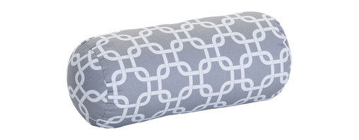 Majestic Home - Outdoor Gray Links Round Bolster - Bolster pillows add some fun shape variety to your throw pillow collection; they fit well into the corners of your couch or settee, and they make great neck support pillows. This one has a cute, modern print that would brighten up a casual couch, bench or lounger, and it's treated for the outdoors so that you can use it on the deck. The cover can also be removed for easy cleaning. Try it with some white patio furniture.