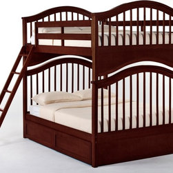 NE Kids - Schoolhouse Jordan Full over Full Bunk Bed - Cherry - FUB381 - Shop for Bunk Beds from Hayneedle.com! The Schoolhouse Jordan Full over Full Bunk Bed - Cherry is big enough for growing children but small enough not to dominate a room making this piece a space-saving machine. Trusty hardwood makes up this bed's frame and the scrumptious dark cherry finish is so beautiful your eyes will widen with wonder. This piece boasts a variety of options: you may choose between an open or closed footboard as well as optional additions such as a trundle bed a privacy panel and storage drawers. Trundle beds are great for sleepovers perfectly hiding away when not in use. As for drawers one can always use more storage. The ladder and guardrail are interchangeable allowing you more placement options without worrying about obstructing the flow of the room. This piece excels in every way. This bed measures 81L x 57.75W x 73.75H. We take your family's safety seriously. That's why all of our bunk beds come with a bunkie board slat pack or metal grid support system. These provide complete mattress support and secure the mattress within the bunk bed frame. Please note: CPSC recommends the tops of the guardrails must be no less than 5 inches above the top of the mattress and that top bunks not be used for children under 6 years of age. About New Energy KidsNE Kids is a company with a mission: to create and import truly unique furniture for your child. For over thirty years they've been accomplishing this mission with flying colors one room at a time. Not only will these products look fabulous they will provide perfect safety for your children by adhering to the highest standards set by the American Society for Testing and Material and the Consumer Products Safety Commission. Your kids are in the best of hands and everyone will appreciate these high-quality one-of-a-kind pieces for years to come.