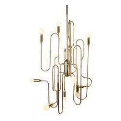 """The Trombone Chandelier By Stilnovo - The Trombone chandelier will have particular appeal if you are into the richness of big bands. Made from a carbon steel with a shiny brass finish, ten """"trombone slides"""" assembled around a central hub make upward, downward and sideways arms for ten spots of light (E14 40W bulbs; not included). Almost a sound and light show."""