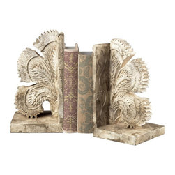 Sterling Industries - Carved Fan Bookends - Carved Fan Bookends