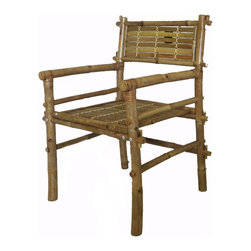 "Master Garden Products - Set of 2 Pieces, Solid Bamboo Arm Chair, Disassembled, 25""W x 25""D x 31""H - Our bamboo chairs are great for the outdoors and indoors. They are made of mature solid Tam Vong bamboo poles and are well constructed with bamboo dowels and glue for excellent strength and beauty. Tam Vong bamboo is also know as iron bamboo or calcutta bamboo, they are harder than other types of hardwood. Simple assembly is required with bolts and nuts. This solid bamboo chair is shipped knock down to save on shipping cost."