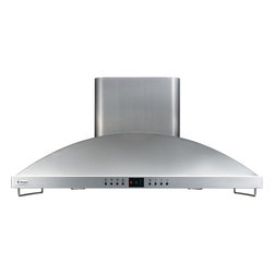 "GE Monogram - GE Monogram® 42"" High Performance Island Hood - A GE Monogram range hood provides the power necessary to capture the smoke and steam produced by high-performance cooking equipment. All hoods are equipped with a variable-speed fan that helps reduce energy usage and sound levels by operating continuously at a low speed, reaching maximum power only as needed for boiling, sautéing and stir-frying."