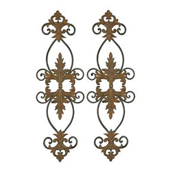 "Uttermost - Uttermost Lacole Wall Art 0.75 x 11.125 x 34.75"" (Set of 2), Rust B... - This metal wall art is made of hand forged metal and is finished with a combination of distressed rust brown and aged black.Designer: Grace FeyockDimensions: 0.75"" depth by 11.125"" width by 34.75"" heightMaterial: metal"