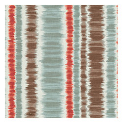Aqua & Red Ikat Stripe Cotton Fabric - Modern ikat stripe of cherry red, charcoal gray & aqua blue on ivory cotton.Recover your chair. Upholster a wall. Create a framed piece of art. Sew your own home accent. Whatever your decorating project, Loom's gorgeous, designer fabrics by the yard are up to the challenge!