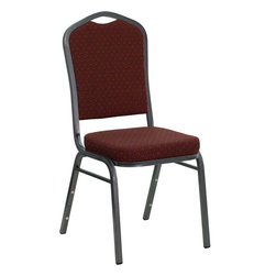 Flash Furniture - Hercules Series Crown Back Stacking Banquet Chair with Burgundy Patterned Fabric - This is one tough chair that will withstand the rigors of time. With a frame that will hold in excess of 500 lbs., the Hercules Series Banquet Chair is one of the strongest banquet chairs on the market. You can make use of banquet chairs for many kinds of occasions. This banquet chair can be used in Church, Banquet Halls, Wedding Ceremonies, Training Rooms, Conference Meetings, Hotels, Conventions, Schools and any other gathering for practical seating arrangements. The banquet chair is also great for home usage from small to large gatherings. For any environment that you use a banquet chair it will put your guests at a greater comfort level with the padded seat and back. Another advantage is the stacking capability that allows you to move the chairs out of the way when not in use. With offerings of comfort and durability, you can be assured that you can enjoy this elegant stacking banquet chair for years to come.