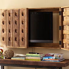 eclectic media storage by Pottery Barn