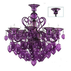 Cyan Design - Purple Murano Style Glass 8-Light Chandelier - Purple Murano style glass chandelier.