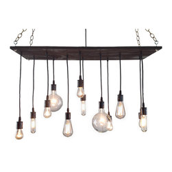 """Industrial Lightworks - Rustic Chandelier with Edison Bulbs, Black Porcelain - Rustic / Industrial style chandelier. Handmade from salvaged plywood and stained a deep dark brown. The wiring is black with white porcelain hardware. Includes a variety of 12 low watt bulbs. The longest bulb hangs 26"""" below base."""