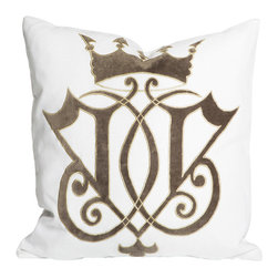 """Aidan Gray - Aidan Gray Pillow Crown V Zinc - Classic and distinctive, the Aidan Gray collection brings to life a passion for all things time worn. The Crown V throw pillow offers the modern living room or bedroom a unique accent. Against a white linen background and trimmed in gray cotton, the square accessory's regal velvet scroll pattern creates a sophisticated statement in zinc black and gold. Includes insert. Made in the USA. 20""""W x 4""""D x 20""""H."""