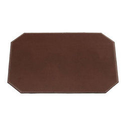 Dacasso - Dacasso Brown Leatherette 17 x 12 Cut Corner Placemat - H3348 - Shop for Desk Pads and Blotters from Hayneedle.com! The Dacasso Brown Leatherette 17 x 12 Cut Corner Placemat exudes executive style. This placemat features durable and luxurious brown leatherette perfectly accented by white stitching around its edges. Unlike other placemats it features a trusty non-slip backing to keep it in place.About Dacasso Limited Inc.Located in Gainesville Florida Dacasso offers quality desk sets and unbeatable customer service. Dacasso manufactures leather and wood desk accessories and their product line ranges from complete leather desk sets that perfectly present a professional look to leather calendar holders that provide organization for day-to-day responsibilities. A company that believes in its products and service Dacasso guarantees your satisfaction.