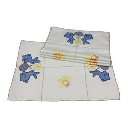Xia Home Fashions - Baby Bunnies Set Of 4 12 By 18-Inch Placemat - Precious blue bunnies with flower and Easter egg with green stitch trim. Great for Easter decor and cheerful accent for your family Easter gatherings!