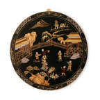 China Furniture and Arts - Chinoiserie Design Wall Plaque - This narrative scene depicts children playing in a traditional Chinese garden. In a Chinese garden, the rocks and pond are the two essential elements representing mountain and waters of the earth. Chinese architecture is vividly hand-painted with elegant Chinoiserie. A brass hanger is included.
