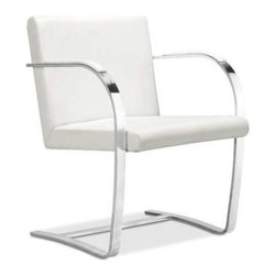 Alphaville Design - Flat Bar Canti Chair , White Leather - Flat Bar Canti Chair is one of the greatest and most famous chairs of all time. Designed by the legendary Mies van der Rohe in Brno, Czechoslovakia, the chair is meant to reflect the simplicity of the environment.