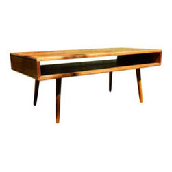 Bauhaus Pine Coffee Table - Hand-built and mid-century modern Bauhaus inspired table is made of solid pine and has tapered legs that have been hand cut and angled to inspire that significant 1950's T.V. modern look. Hand-stained in English Chestnut and coated in a protective polyurethane, this sturdy, vintage-looking, open-framed table is sure to add dimensions to your room, without overdoing it. Handmade in USA.