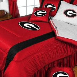 Sports Coverage - University Of Georgia Bulldogs NCAA Bedding - Sidelines Comforter and Sheet Set - This is a great Georgia Bulldogs NCAA Bedding Comforter and Sheet set combination! Buy this Microfiber Sheet set with the Comforter and save off our already discounted prices. Show your team spirit with this great looking officially licensed Comforter which comes in new design with sidelines. This comforter is made from 100% Polyester Jersey Mesh - just like what the players wear. The fill is 100% Polyester batting for warmth and comfort. Authentic team colors and logo screen printed in the center.   Microfiber Sheet Hem sheet sets have an ultrafine peach weave that is softer and more comfortable than cotton.  Its brushed silk-like embrace provides good insulation and warmth, yet is breathable.  The 100% polyester microfiber is wrinkle-resistant, washes beautifully, and dries quickly with never any shrinkage. The pillowcase has a white on white print beneath the officially licensed team name and logo printed in vibrant team colors, complimenting the NEW printed hems. The Teams are scoring high points with team-color logos printed on both sides of the entire width of the extra deep 4 1/2 hem of the flat sheet.  Includes:  -  Flat Sheet - Twin 66 x 96, Full 81 x 96, Queen 90 x 102.,    - Fitted Sheet - Twin 39 x 75, Full 54 x 75, Queen 60 X 80,    -  Pillow case Standard - 21 x 30,    - Comforter - Twin 66 x 86, Full/Queen 86 x 86,