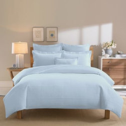 Real Simple - Real Simple Linear Blue Duvet Cover - The Linear duvet cover brings clean sophistication and rich texture to your bedroom with a ribbed matelassé design woven in luxuriously soft 100% cotton.