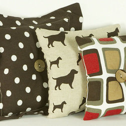 Cotton Tale Designs - Houndstooth Pillow Pack ( 3 Piece) - A quality baby bedding set is essential in making your nursery warm and inviting. All N. Selby patterns are made using the finest quality materials and are uniquely designed to create an elegant and sophisticated nursery. The houndstooth pillow pack has 3 fun separate pillows. One in pup fabric, one in contemporary square, and one in espresso dot with large button. They come in a pack of 3 and can be used throughout the nursery, but never in the crib. The pillows measure 15 x15, 12 x 12 , and 10 x 10 inches. Spot clean only. Perfect for a boy or a girl.