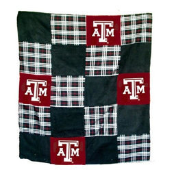 Traditions Art Glass Studios - Texas A&M University Quilt - -Large 50 x 60 Ultra suede patchwork quilt with chenille school logos  -Great for tailgating, keeping warm at games, or watching games on TV  -Machine washable. Traditions Art Glass Studios - TXAM805