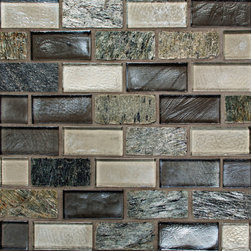 Oceanside Glass - Tribute Offset Mosaic, Swagger Blend, 1 Carton (11.85 Sq Ft) - Tribute is a handcrafted, rustic glass tile that is available in four colors in size 3x6 with 1x1 and 1x2 mosaics. The mosaics are made in twelve different colors that are a blend of shimmering and frosted hues. Two styles of liners in all four colors are also available. Born in fire these mosaics are enduring and hypnotic.