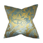 "The Pillow Collection - Fyodora Damask Pillow Aqua 18"" x 18"" - Create a sense of luxury to your home by adding this timeless statement piece. This throw pillow features a classic damask pattern in shades of aqua blue and gold. Use this toss pillow to complement your living room, bedroom or lounge area. Mix with bright and exotic colors for a vibrant decor style."