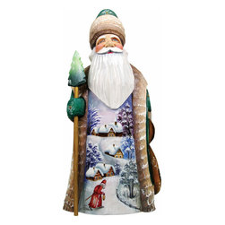 """Artistic Wood Carved First Light Santa Claus Sculpture - Measures 8.5""""H x 3.5""""L x 3.5""""W and weighs 1 lb. G. DeBrekht fine art traditional, vintage style sculpted figures are delightful and imaginative. Each figurine is artistically hand painted with detailed scenes including classic Christmas art, winter wonderlands and the true meaning of Christmas, nativity art. In the spirit of giving G. DeBrekht holiday decor makes beautiful collectible Christmas and holiday gifts to share with loved ones. Every G. DeBrekht holiday decoration is an original work of art sure to be cherished as a family tradition and treasured by future generations. Some items may have slight variations of the decoration on the decor due to the hand painted nature of the product. Decorating your home for Christmas is a special time for families. With G. DeBrekht holiday home decor and decorations you can choose your style and create a true holiday gallery of art for your family to enjoy. All Masterpiece and Signature Masterpiece woodcarvings are individually hand numbered. The old world classic art details on the freehand painted sculptures include animals, nature, winter scenes, Santa Claus, nativity and more inspired by an old Russian art technique using painting mediums of watercolor, acrylic and oil combinations in the G. Debrekht unique painting style. Linden wood, which is light in color is used to carve these masterpieces. The wood varies slightly in color."""