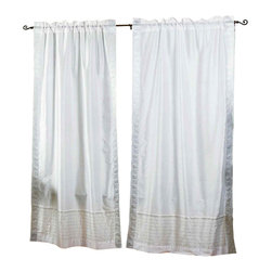 Indian Selections - Pair of White Silver Rod Pocket Sheer Sari Curtains, 43 X 84 In. - Several sizes available