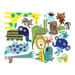 Pop & Lolli - Fabric Decals - Jiving Jungle Pals - Jumping and Jiving and filled with fun, these Jungle Pals are made from ringing bells and delicious smells. Use as a single design for simple fun, or combine various favorites to add some funky & spunky to any room for an interactive experience. Unique in its concept and application you create your own fabulous & flexible artistic mural constantly changing as your mood depicts and time evolves.\
