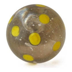 "Knobco - Polka Dotted Glass Knob, Clear knob with Yellow Polka dots - Clear knob with Yellow Polka dots glass knob. Unique glass knobs for your kitchen cabinets. 1.1"" in   diameter.   Includes screws for installation."