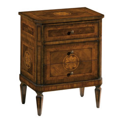 """Inviting Home - Small Maggiolini Inlaid Chest - Maggiolini style three drawer chest in black walnut veneer inlaid with walnut olive boxwood and rosewood antiqued brass hardware; 22-1/2""""W x 14-1/4""""D x 28-3/4""""H hand-made in Italy Hand-crafted Maggiolini style inlaid chest. This chest features black walnut veneer inlaid with walnut olive boxwood and rosewood. Maggiolini chest has three drawers and antique brass hardware. This inlaid chest is hand-made in Italy."""