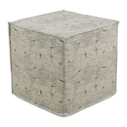 """Chooty - Chooty Air Traffic Collection 17"""" Square Seamed Foam Ottoman - Insert 100 High Density Foam, Fabric Content 100 Cotton , Color Off White, Charcoal, Hassock 1"""