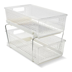 madesmart - Two-Tier Organizer - Save room in your kitchen using the two-tier basket shelf system of this organizer that maximizes vertical space.   Assembled: 8.98'' W x 10.58'' H x 14.28'' D PET / polypropylene / steel Imported