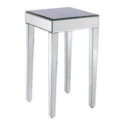 Mirrored Side Table - I've been coveting this side table for so long. I love the mirror, the tapered legs, the beveled edges and the price!