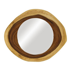 """Lamps Plus - Accent Acacia 24"""" Wide Natural Wood Frame Wall Mirror - This beautiful wall mirror comes from exotic plantation acacia wood that is hand sliced into rounds. Knots grain and color variations are all part of its natural charm and each piece may vary slightly in shape and approximate size. A light matte lacquer is applied as a sealer and natural cracking will occur. A sawtooth hanger at the back lets you place on your walls with ease. Plantation acacia wood frame. Natural finish with matte lacquer sealant. Each piece may vary in size shape and color. Sawtooth hanger. Up to 24"""" wide. Mirror glass only is 14"""" round.  Plantation acacia wood frame.   Natural finish with matte lacquer sealant.   Each piece may vary in size shape and color.   Sawtooth hanger.   Up to 24"""" wide.   Mirror glass only is 14"""" round."""