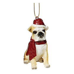"EttansPalace - Bulldog Holiday Dog Ornament Sculpture - With a festive Santa hat and red scarf, this adorable Bulldog dog ornament has neither a ""bark"" nor a ""bite"" worth worrying over! Our Bulldog dog ornament is realistically sculpted, cast in quality designer resin and hand painted for the ""discriminating dog lover"". The perfect canine gift for Bulldog dog aficionados and a fun way to include your pets in holiday decorating! Approx. 2.5""W x 1.5""D x 3.5""H. .5 lb."