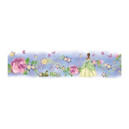 RoomMates Peel & Stick - Princess and Frog Border - Relive the magic of the princess and the frog with this beautiful peel and stick wall border. Applying is easy: just peel and stick! the border is completely reusable and repositionable so decorating is easy and worry-free. Pair this border with our princess and the frog wall decals or giant wall decals for a full room effect! Does your room need a little Disney magic? look no further! This peel and stick wall border of Disney's the princess and the frog is great for little girls.