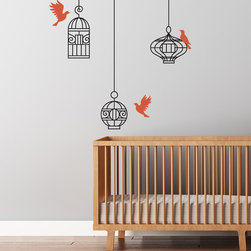 Cherry Walls - Birds and Cages Decal - Even Sylvester the cat would love this one! Elegant, colorful and decidedly modern, this bird and cage design set instantly brings a fresh sense of style to your home. Combine two sets for greater visual impact on your larger walls.