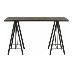 Used Industrial Fir Wood Console Table - 'Form follows function' has been the mantra of the world's greatest architects. Inspired by the classic sawhorse table, the Safavieh Troy Console is a testament to this design philosophy. Crafted with fir wood, its clean style and classic lines make it a modern masterpiece.