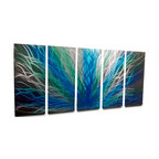 Miles Shay - Metal Wall Art Decor Abstract Contemporary Modern- Radiance Large Blue Green - This Abstract Metal Wall Art & Sculpture captures the interplay of the highlights and shadows and creates a new three dimensional sense of movement as your view it from different angles.