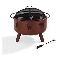 Crosley - Durango Wildlife Firepit in Clay - Dimensions:  25 x 25 x 8 inches
