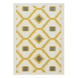"Loloi Rugs - Loloi Rugs Terrace Collection - Citron / Ivory, 3'-0"" x 3'-0"" Round - Bold design and bright colors come together beautifully in the outdoor-friendly Terrace Collection. Each Terrace rug is power loomed in Egypt of 100% polypropylene that's specially treated to withstand rain and UV damage without staining or fading color.�"