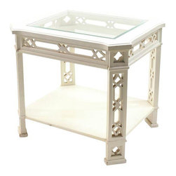 SOLD OUT!  Vintage White Asian Side Table - $500 Est. Retail - $275 on Chairish. -