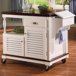 Coaster - Kitchen Cart in White Finish - Traditional style. Drawer and two doors. Open shelf. Four industrial-grade casters. Made from solid birch and veneer. 26 in. L x 42 in. W x 34 in. H. WarrantyWith a homey yet classy feel, this kitchen cart is perfect for attaining extra storage as well as an island work surface to polish off and make the most of your kitchen and dining areas. This kitchen cart collection offers trendy solutions to make the most of your cooking and dining space. From casual and homey pieces to intricately carved and formal serving tables, it has something for everyone. Get rid of the clutter on your counter tops and add extra storage space by choosing a piece from this diverse selection of serving tables. Whether you want to stow a microwave, hide away extra dishes, or spice up your dining evenings with a formal server, this kitchen cart is visually appealing and offer convenient storage to meet all of your needs.