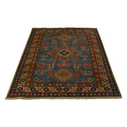 1800-Get-A-Rug - Sky Blue Kazak Oriental Rug Hand Knotted Tribal Design 100% Wool Sh18360 - Our tribal & geometric hand knotted rug collection, consists of classic rugs woven with geometric patterns based on traditional tribal motifs. You will find Kazak rugs and flat-woven Kilims with centuries-old classic Turkish, Persian, Caucasian and Armenian patterns. The collection also includes the antique, finely-woven Serapi Heriz, the Mamluk Afghan, and the traditional village Persian rug.